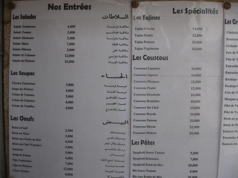 Цены на острове Джерба, Тунис