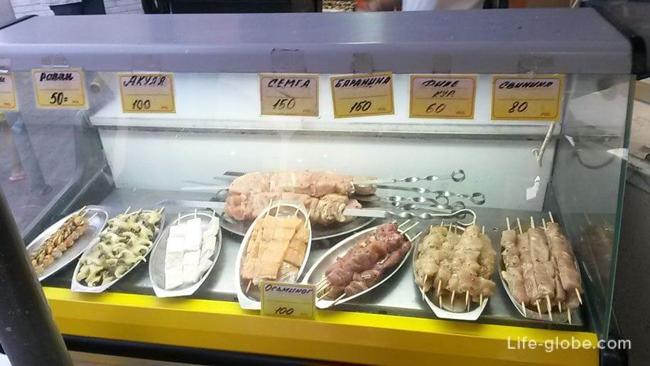 Цены в Крыму, рыба, морепродукты, мясо - шпажки на набережной
