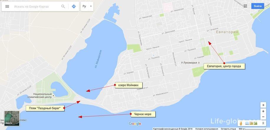 Карта пляжа «Лазурный берег» и озера Мойнаки, Евпатория, Крым