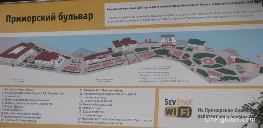 Приморский бульвар, схема, Севастополь