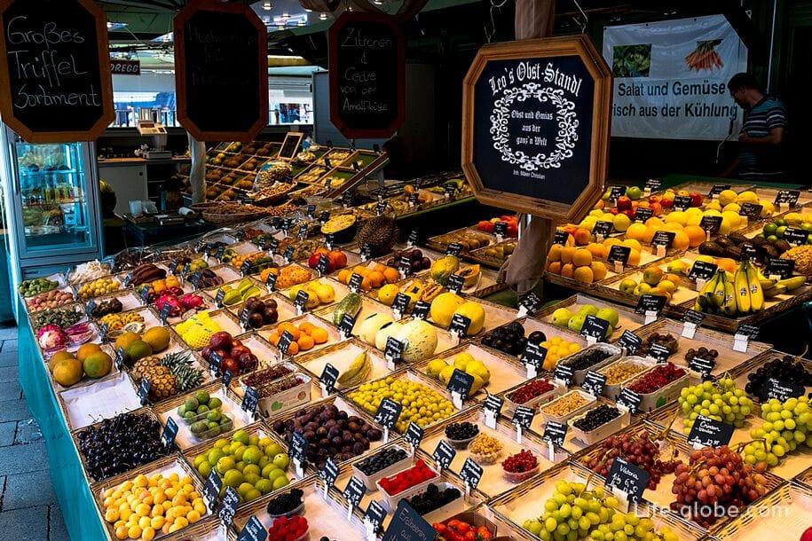 Viktualienmarkt, Munich: market, beer garden, fountains