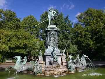 Городской парк Нюрнберга с фонтаном Нептуна (Штадтпарк / Stadtpark, Нептунбруннен / Neptunbrunnen)