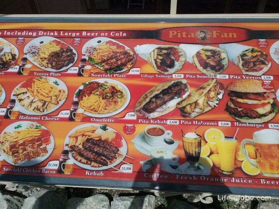 Цены на еду, Родос, Греция