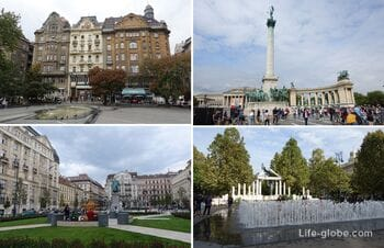 The main squares of Budapest