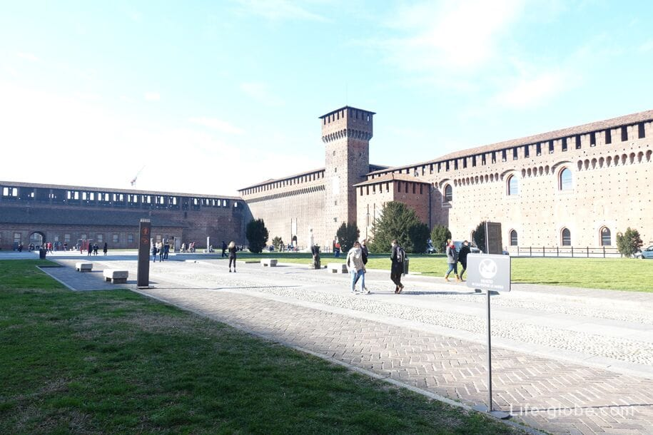 The main courtyard of the Sforza castle, Milan