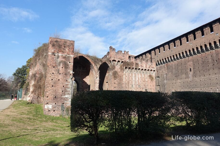 Walls of Sforza Castle, Milan, near the left entrance