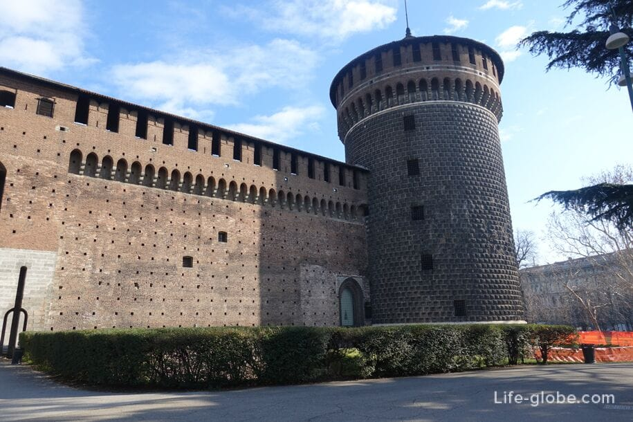 Walls and tower of Sforza Castle, Milan, near the left entrance
