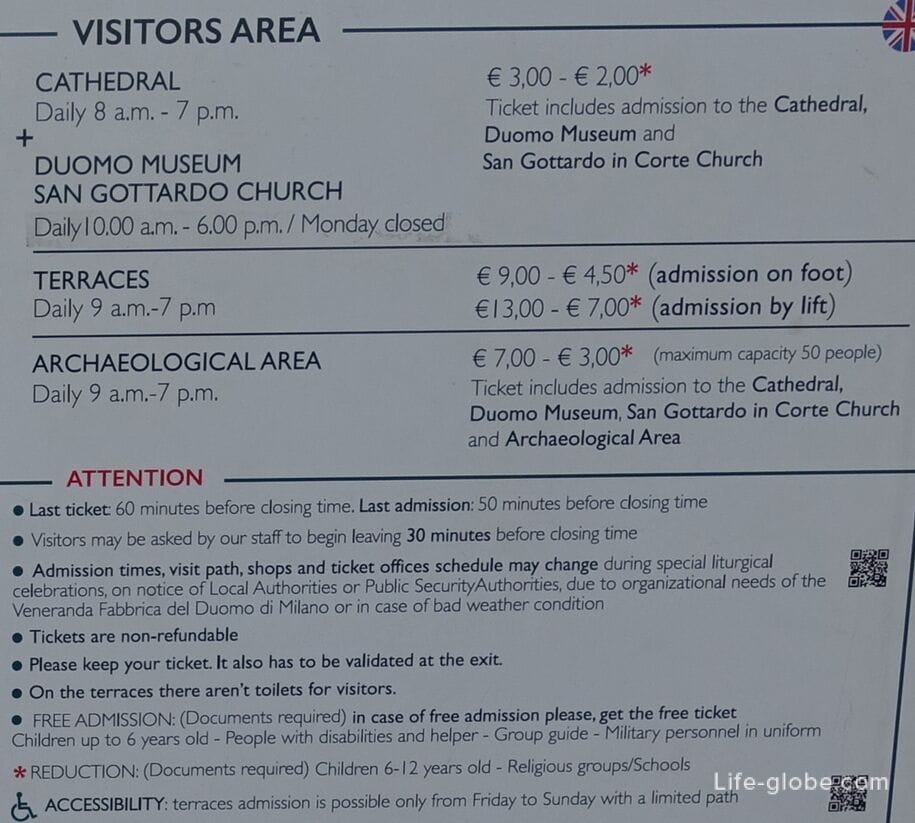 Milan complex, tickets prices