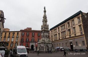 Piazza Gesu Nuovo, Naples: Church of Gesu Nuovo, Santa Chiara Monastery, obelisk (Piazza del Gesu Nuovo)