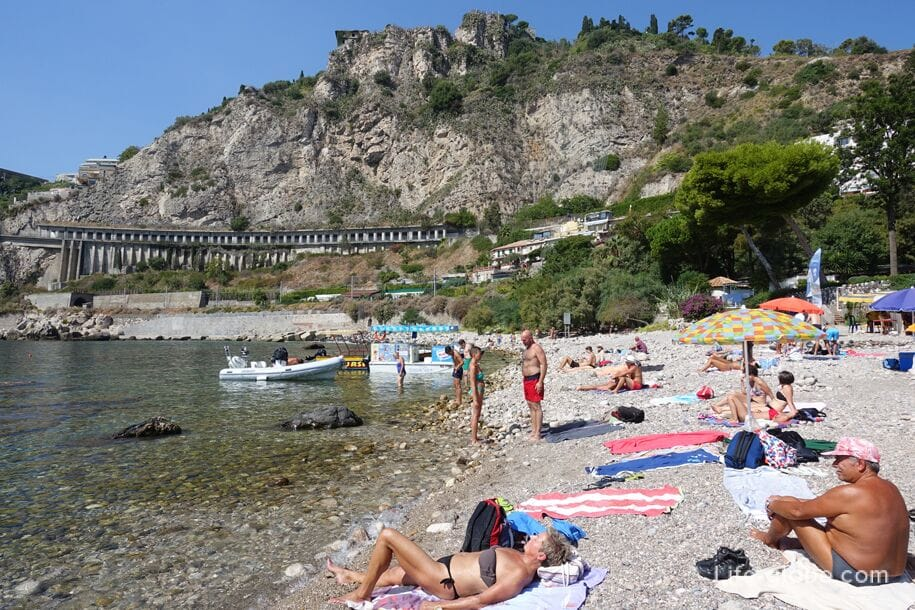 The southern part of Isola Bella Beach, Taormina