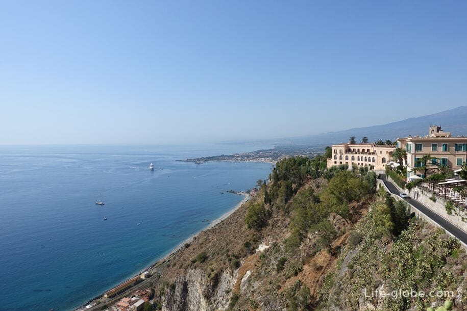 View of the south coast from the center of Taormina