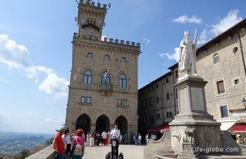 Площадь Свободы в Сан-Марино: статуя Свободы и паллацо Публико (Общественный дворец)