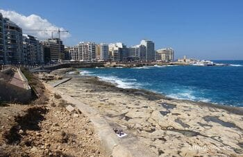 Beaches of Sliema, Malta. Coast and embankments of Sliema