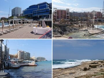 Пляжи Сент-Джулианса, Мальта. Побережье Сент-Джулианса