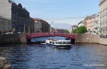 Red bridge (Krasniy bridge) in Saint Petersburg