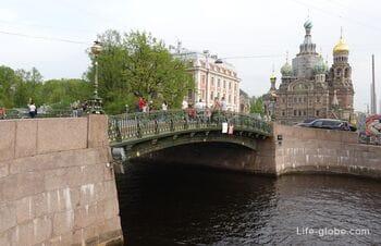 Three bridges in St. Petersburg: Malo-Konyushenny, Teatralny and False - Triple bridge across the Moika and the Griboyedov canal