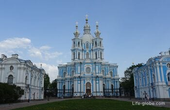 Smolny Cathedral in Saint Petersburg: cathedral, observation deck, monastery