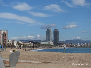 Beaches of Barcelona. The coast of Barcelona