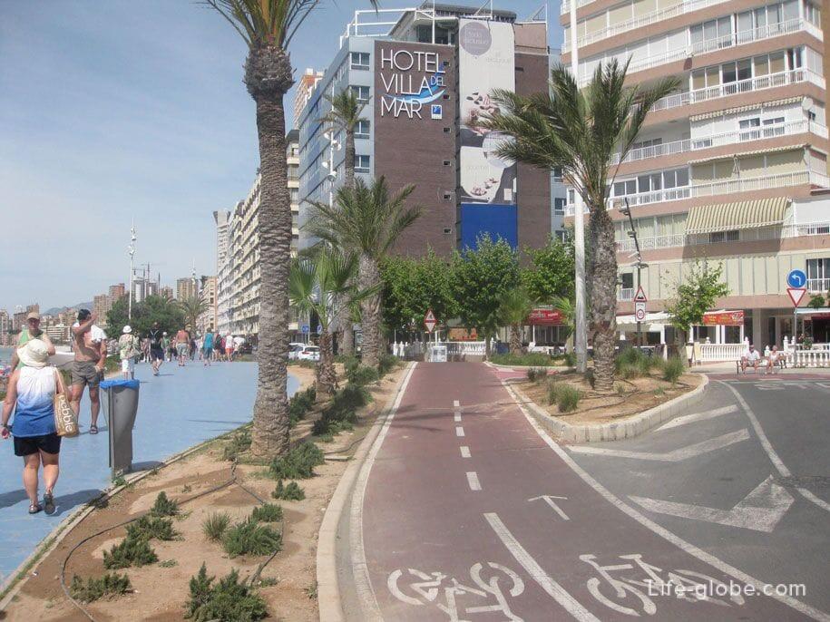 Велосипедная дорожка вдоль набережной, Бенидорм