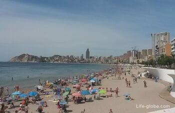 Poniente beach (Playa de Poniente) is the largest sandy beach of Benidorm