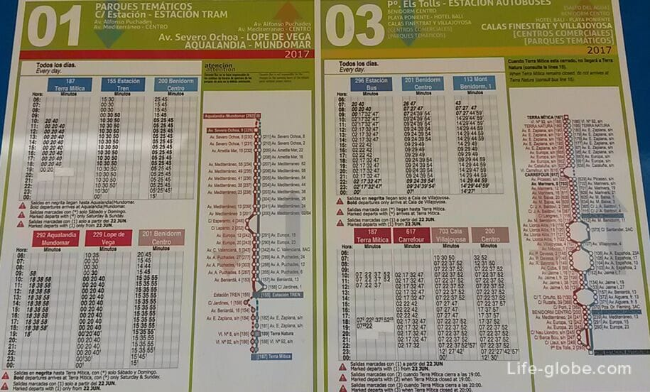 Расписание и маршруты автобусов Терра Митика - Бенидорм