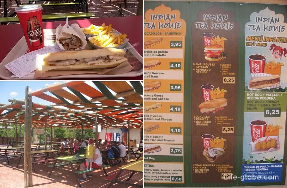 Цены на еду в парке Терра Натура, Бенидорм