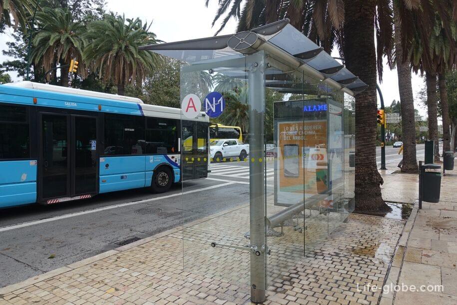 Автобусная остановка в центре Малаги, площадь Хенераль Торрихос