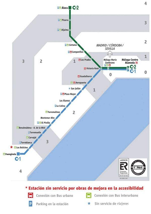 Карта маршрутов пригородных поездов Малаги