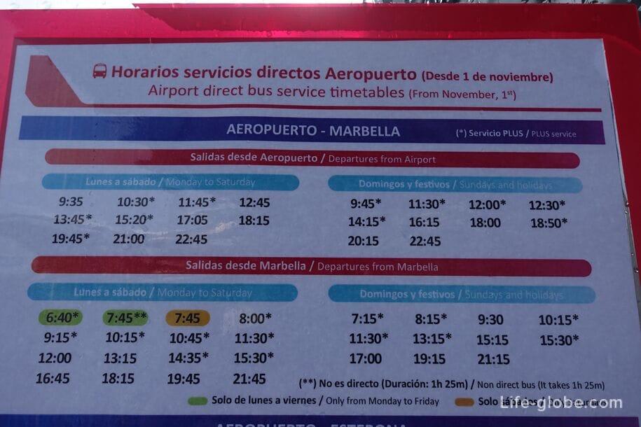 Расписание автобусов аэропорт Малага - Марбелья