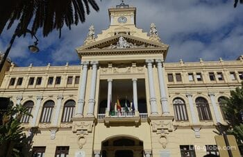 City Hall and the gardens of Luis Alonso in Malaga - the historical monuments of culture
