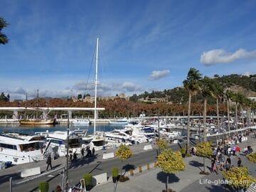 Главный порт и прогулочный променад в Малаге (Puerto Malaga)