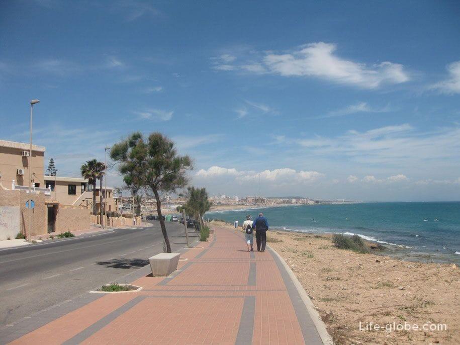 Побережье и дорога от пляжа Кабо Сервера к пляжу Ла Мата, Торревьеха