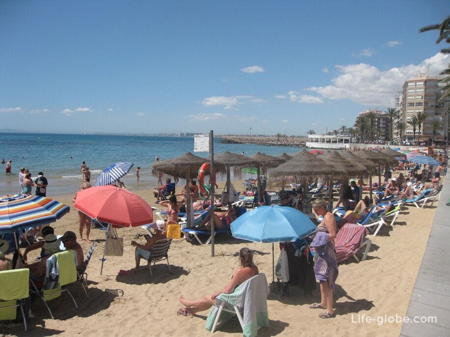 Шезлонги и зонты от солнца на пляже Дель Кура, Торревьеха