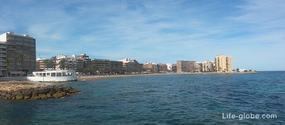 Торревьеха, Испания, панорама пляжа Дель Кура и окрестностей