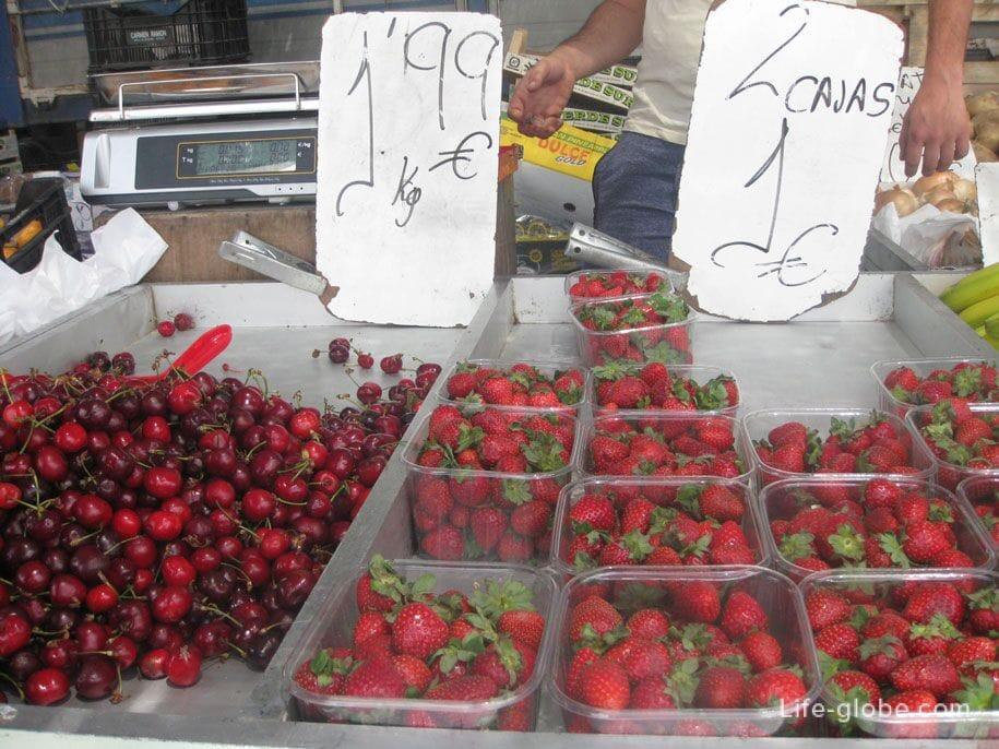 Ягоды на рынке в Торревьехе, цены