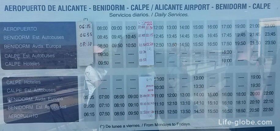 Расписание движения автобусов Аликанте-Бенидорм-Кальп