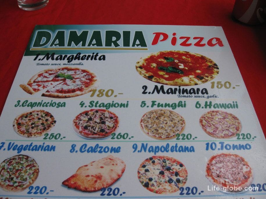 Pizza prices at Bangtao Cafe, Phuket