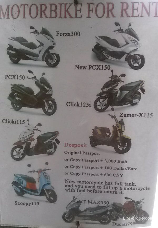 Bike Rental Terms, Kata Noi, Phuket