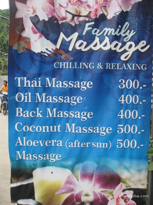 Massage prices, Kata Noi, Phuket