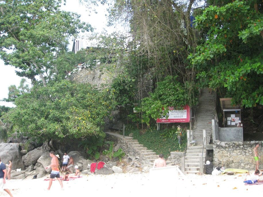 Staircase leading to Kata Noi beach, view from the beach