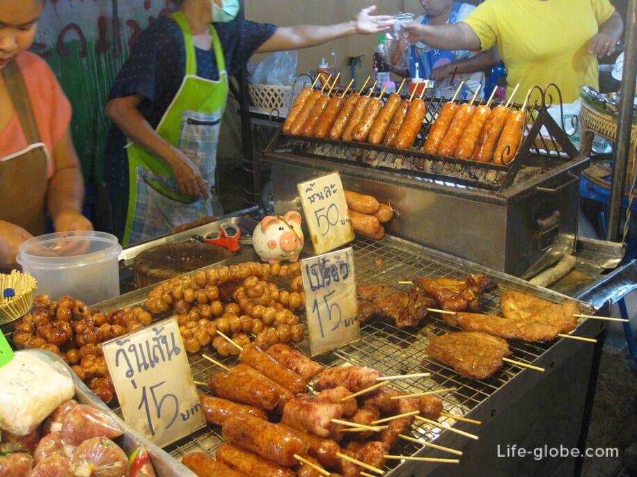 Еда на ночном рынке Карон