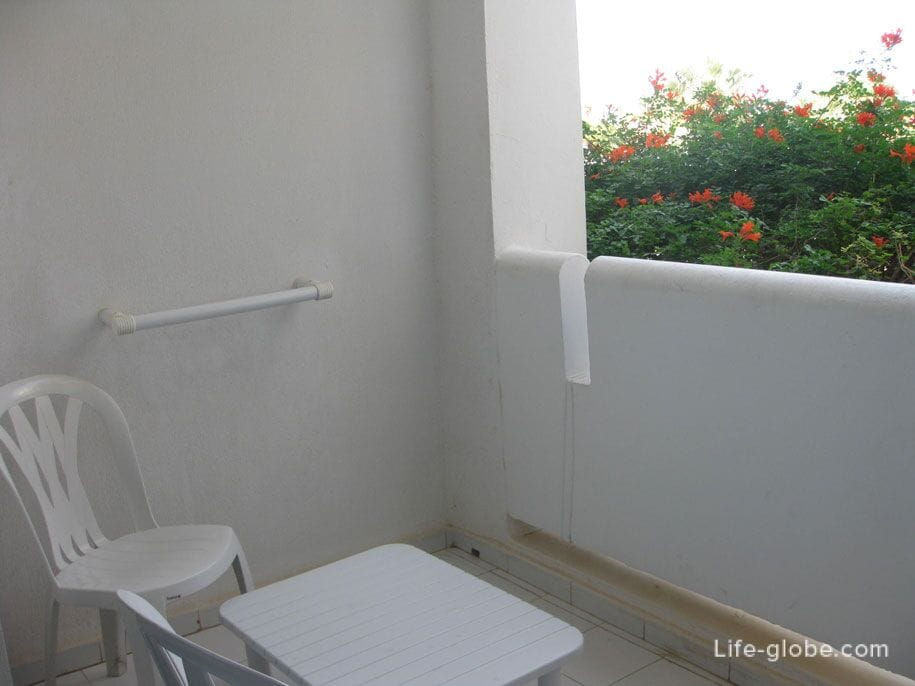 Balcony in the rooms of the hotel Djerba Plaza, Tunisia