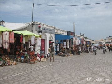 Houmt Souk, capital of Djerba island, Tunisia: market, Fort, port, amphitheatre and city