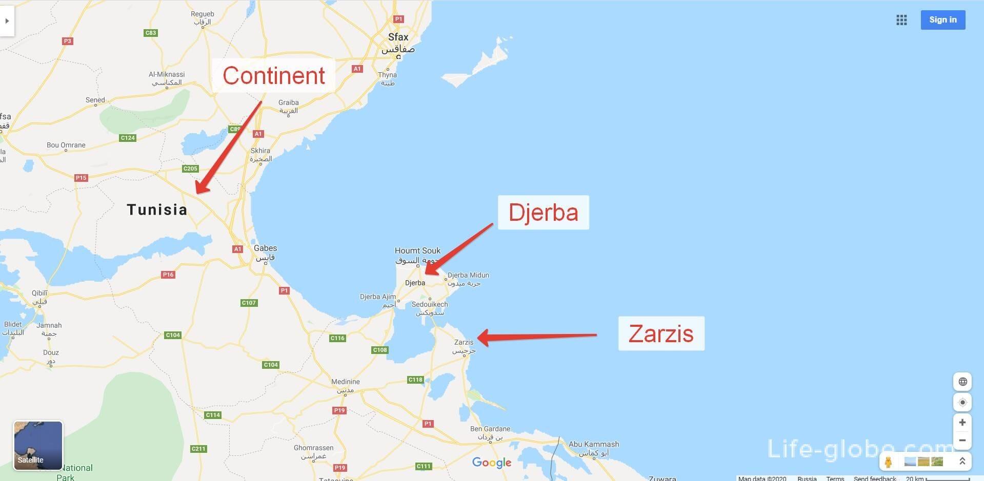 Djerba island on the map