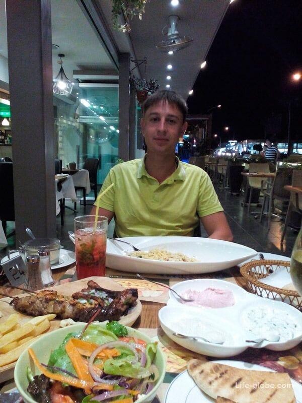 lunch at Ayia Napa restaurant, Cyprus