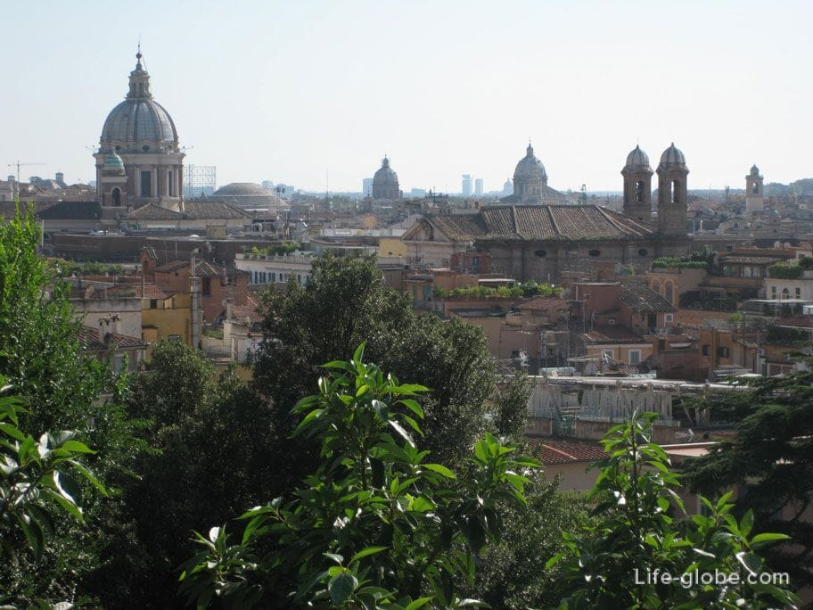 панорамма со смотровой площадки Пинчо, Рим, Италия