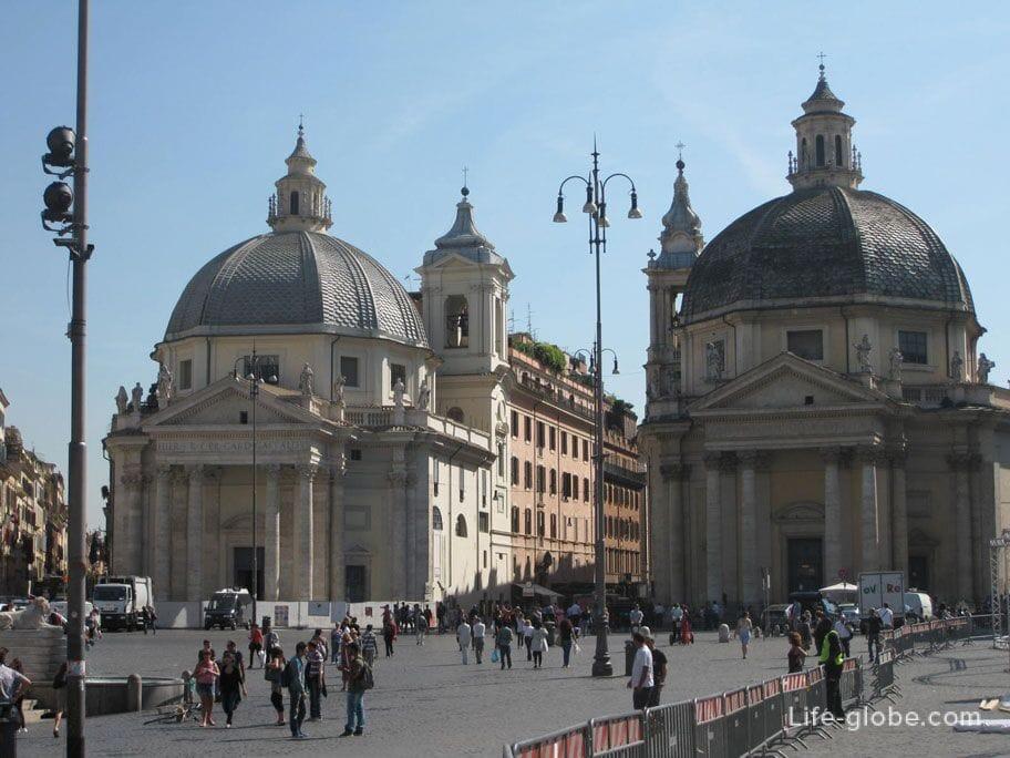 The twin temples in Piazza del Popolo in Rome