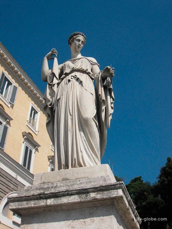 архитектура площади Пополо, Рим, Италия