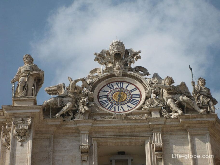 clock at St. Peter's Basilica in Vatican