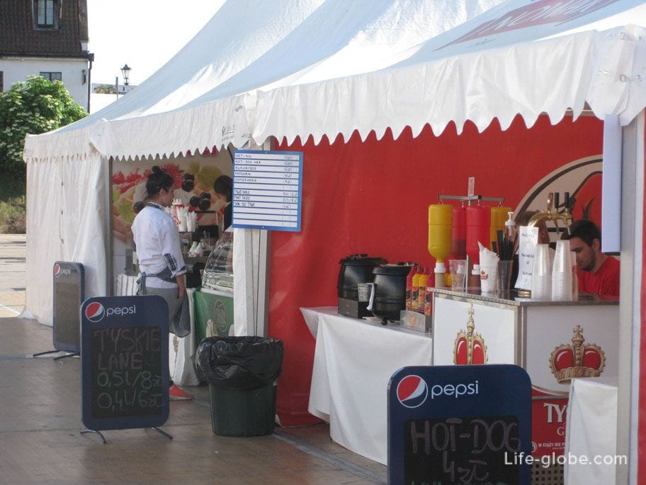 street food-hot dogs and waffles in Gdansk